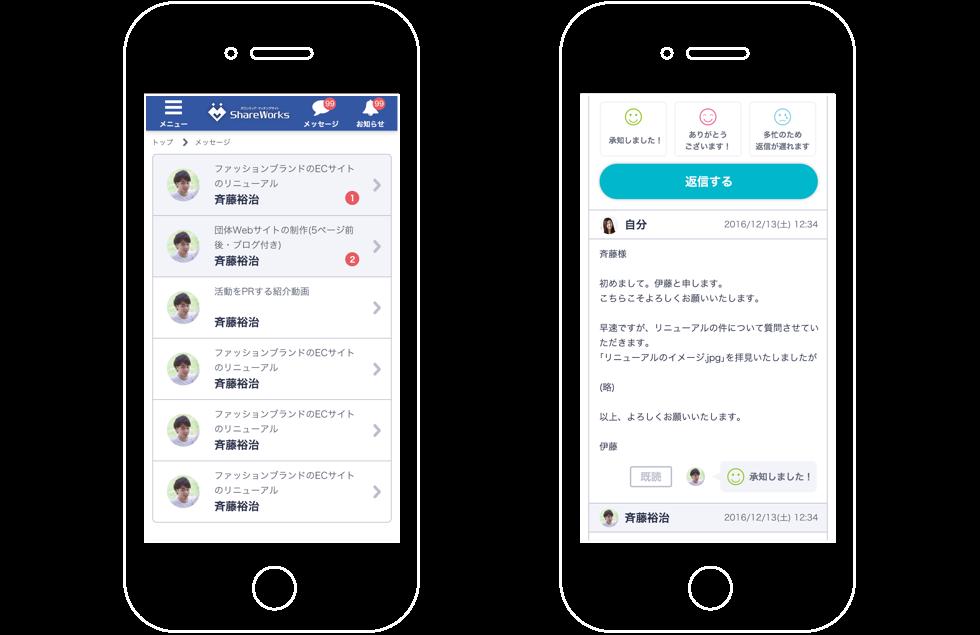 ShareWorksメッセージ画面スマホ版のスクリーンショット